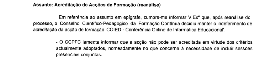 Indeferimento CCPFC